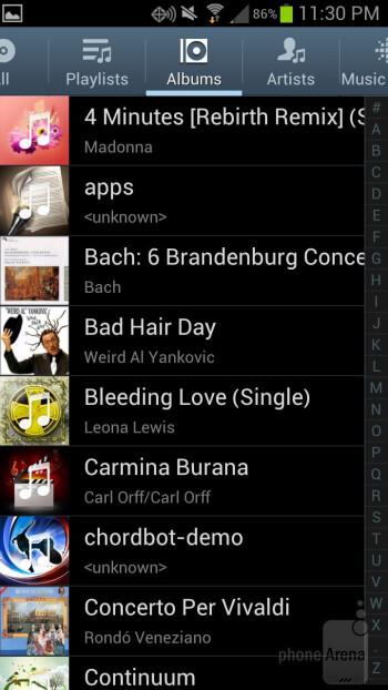 Samsung Galaxy S III - Music players - Samsung Galaxy S III vs HTC Rezound