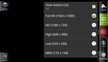 Camera interface of the HTC Rezound - Samsung Galaxy S III vs HTC Rezound