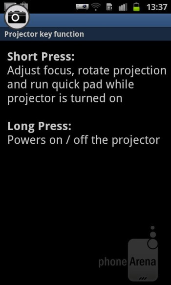The Projector app - Samsung Galaxy Beam Review