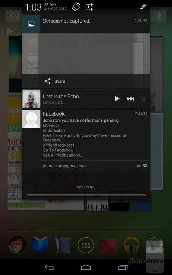 Notifications system on the Google Nexus 7 - Google Nexus 7 vs Apple iPad 3