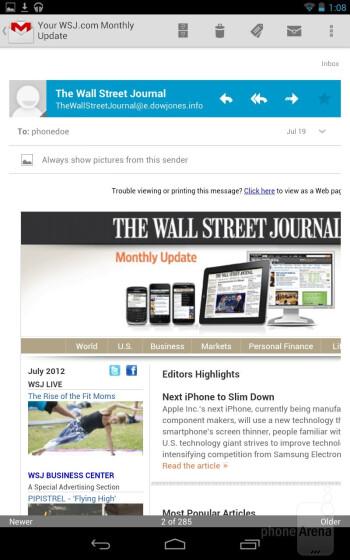 Email on the Google Nexus 7 - Google Nexus 7 vs Apple iPad 3