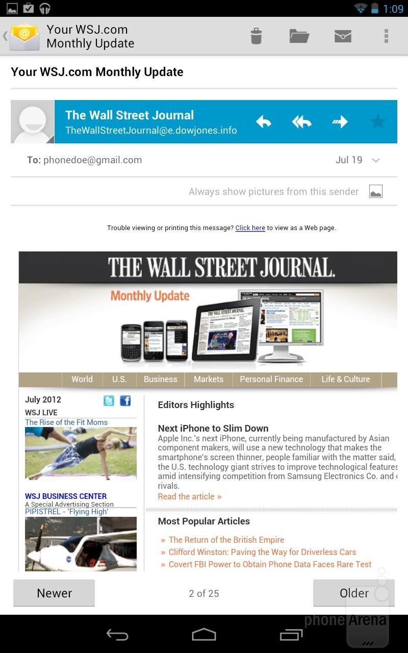 Email on the Google Nexus 7 - Google Nexus 7 vs Amazon Kindle Fire