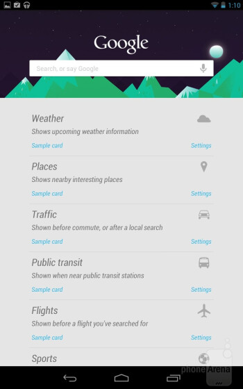 "Google Now is presented to us in stylized ""cards"" - Google Nexus 7 Review"