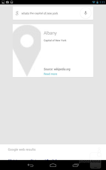 Google Voice Search provides tangible search results - Google Nexus 7 Review