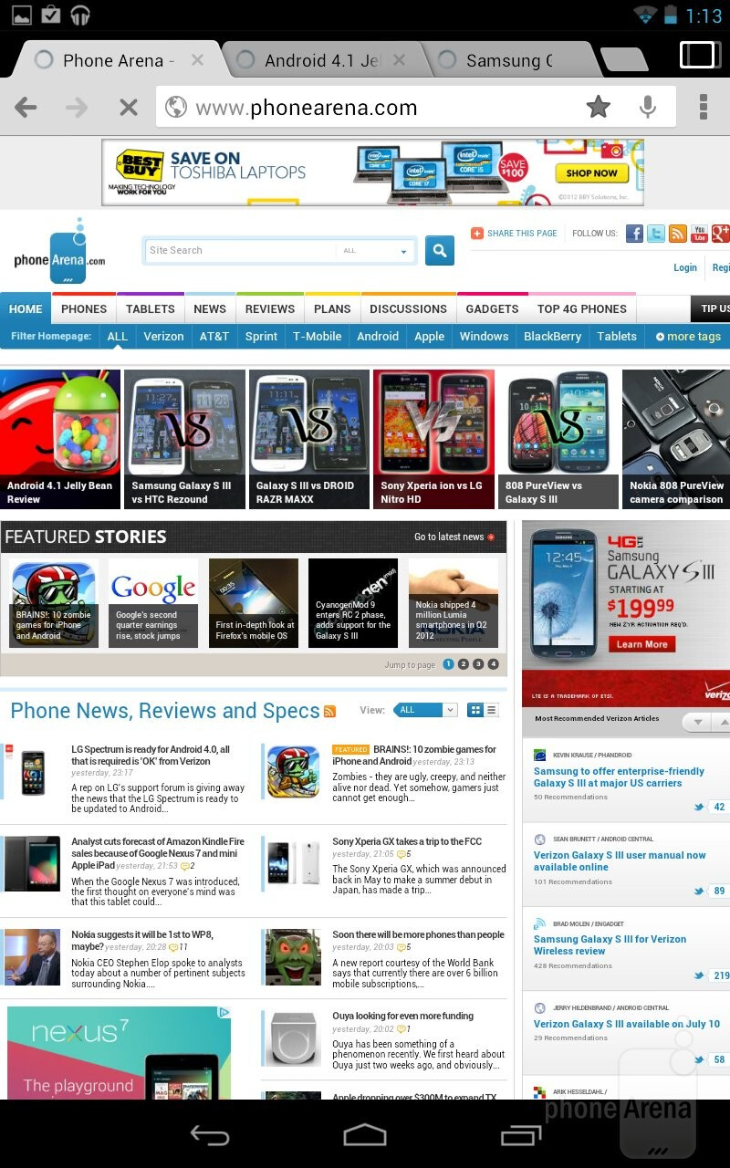 The Chrome browser of the Google Nexus 7 - Google Nexus 7 vs Amazon Kindle Fire