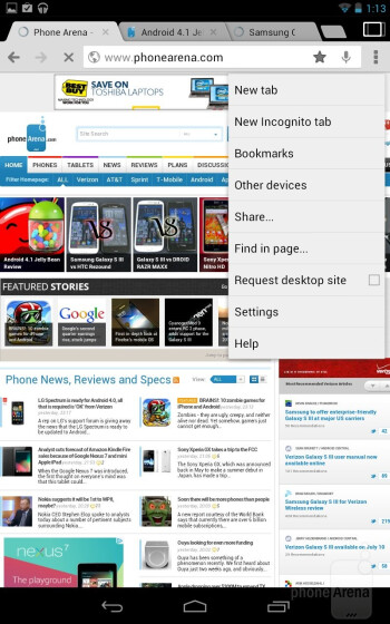 The Chrome browser on the Google Nexus 7 - Google Nexus 7 vs Apple iPad 3