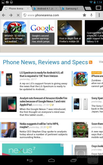 The Chrome browser on the Google Nexus 7 - Google Nexus 7 vs Apple iPad 3