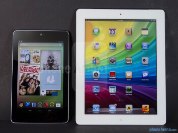 The Google Nexus 7 (left, top) and the Apple iPad 3 (right, bottom) - Google Nexus 7 vs Apple iPad 3