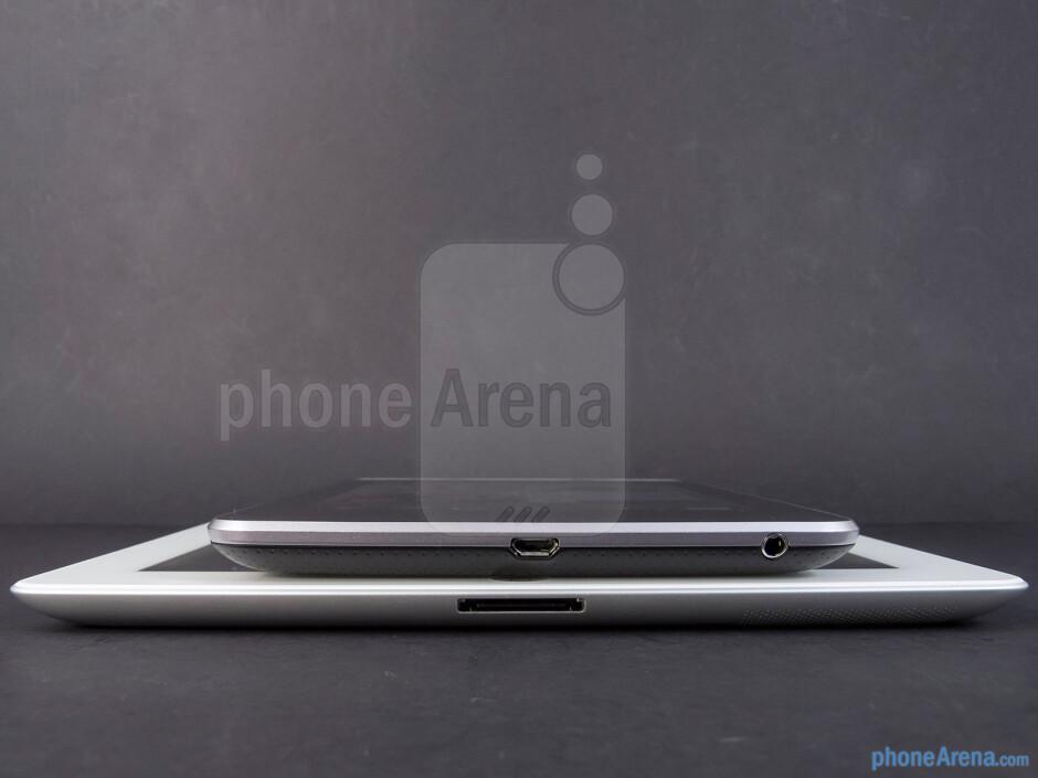 The sides of the Google Nexus 7 (top) and the Apple iPad 3 (bottom) - Google Nexus 7 vs Apple iPad 3