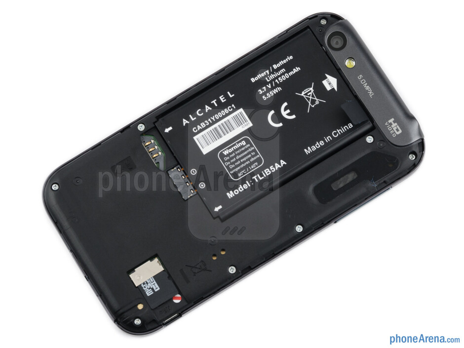 Back cover removed - Alcatel OT-995 Review