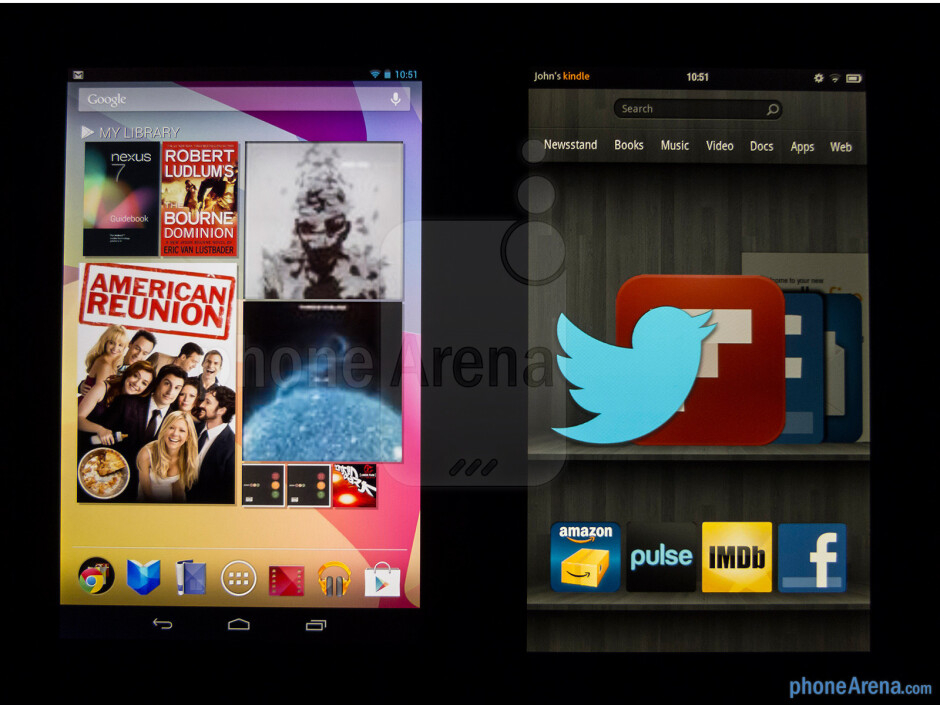 The Google Nexus 7 (left) and the Amazon Kindle Fire (right) - Google Nexus 7 vs Amazon Kindle Fire