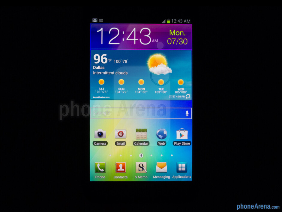 Viewing angles of the T-Mobile Samsung Galaxy Note - T-Mobile Samsung Galaxy Note Review