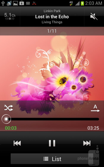 There's nothing out of the ordinary with its TouchWiz music player - T-Mobile Samsung Galaxy Note Review