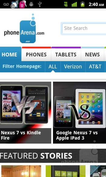 Web browser of the T-Mobile myTouch - T-Mobile myTouch Review