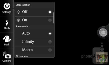 Camera interface - T-Mobile myTouch Q Review