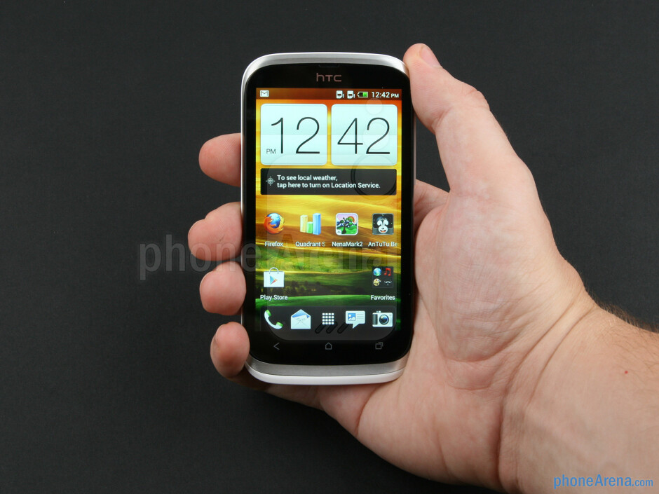 The 9.3-millimeter-thin HTC Desire V fits almost perfectly in the palm - HTC Desire V Review