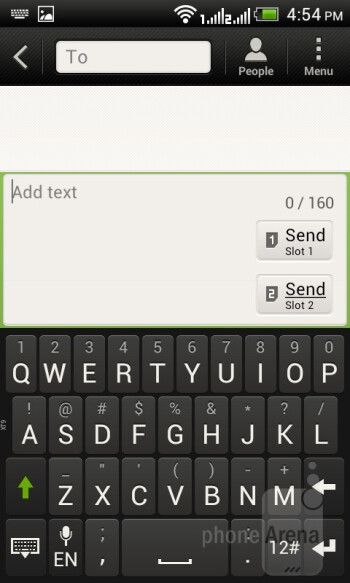 The virtual on-screen keyboard - HTC Desire V Review