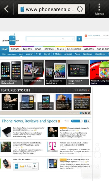Web browsing with the HTC Desire V - HTC Desire V Review