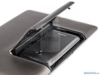 The latch mechanism on the back of the PadFone Station - Asus PadFone Review