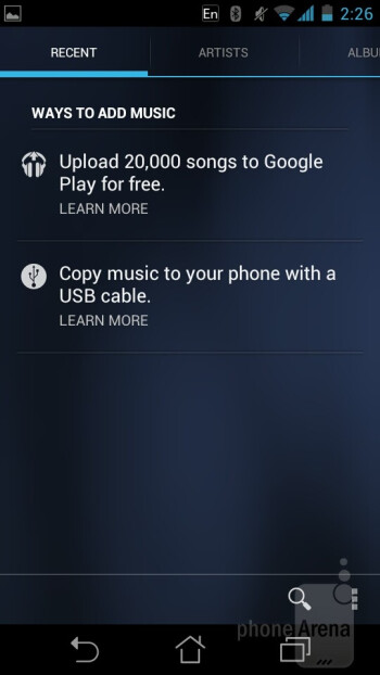 Music player of the Asus PadFone - Asus PadFone Review