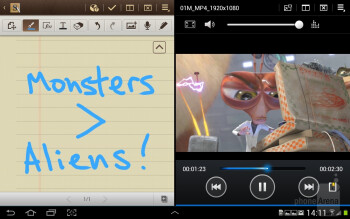 Multiscreen is an interface feature that splits the screen in half displaying two separate applications on each side - Samsung Galaxy Note 10.1 Preview