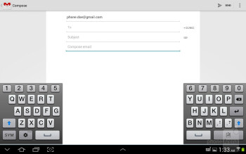 On-screen keyboard of the Samsung Galaxy Note 10.1 - Samsung Galaxy Note 10.1 Review