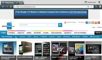 Web browsing - Samsung Galaxy Note 10.1 Review