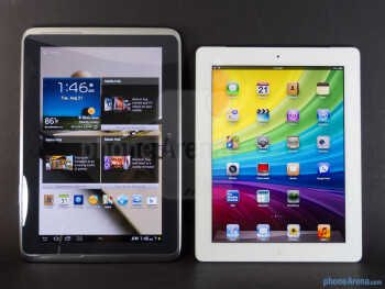 The Samsung Galaxy Note 10.1 (left) and the Apple iPad 3 (right) - Samsung Galaxy Note 10.1 vs Apple iPad 3
