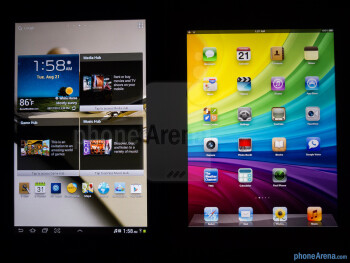 Viewing angles - The Samsung Galaxy Note 10.1 (left) and the Apple iPad 3 (right) - Samsung Galaxy Note 10.1 vs Apple iPad 3