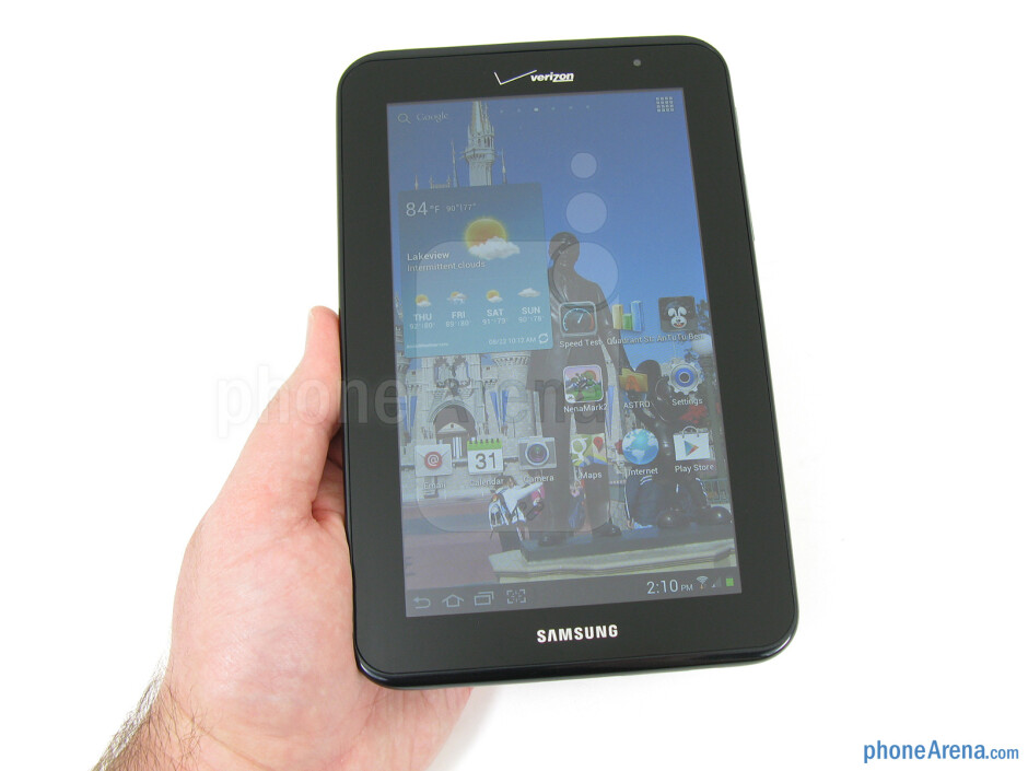 The Samsung Galaxy Tab 2 (7.0) is simplistic and understated with its all-black appearance and plastic construction. - Samsung Galaxy Tab 2 (7.0) LTE Review