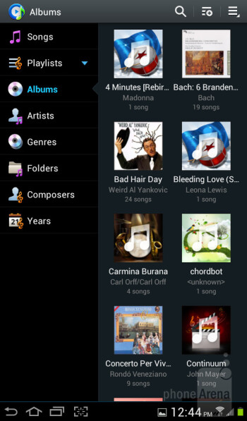 The music player interface is nothing more than a rehash - Samsung Galaxy Tab 2 (7.0) LTE Review