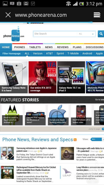 Browsing the Web with Sony Xperia acro S - Sony Xperia acro S Review