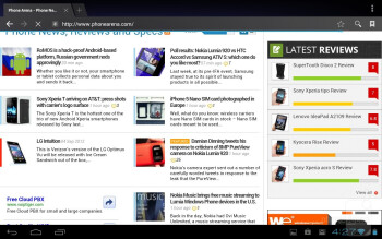 The Android ICS browser on the Fujitsu Stylistic M532 - Fujitsu Stylistic M532 Review