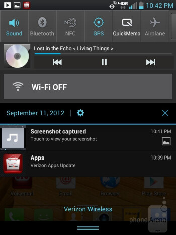 Music player - LG Intuition Review