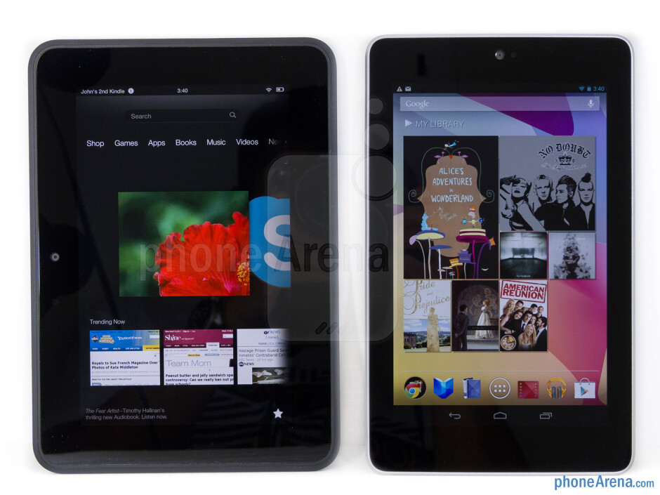 The Amazon Kindle Fire HD (left) and the Google Nexus 7 (right) - Amazon Kindle Fire HD vs Google Nexus 7