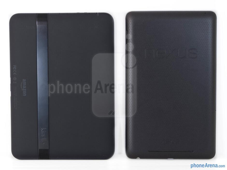 Backs - The Amazon Kindle Fire HD (left, bottom) and the Google Nexus 7 (right, top) - Amazon Kindle Fire HD vs Google Nexus 7