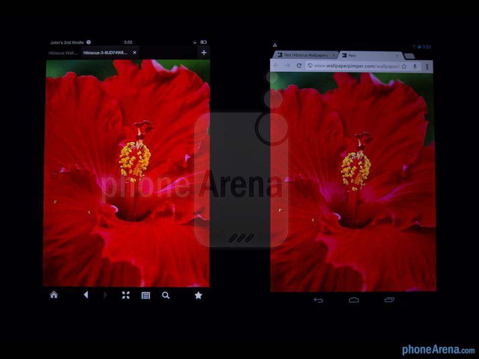 Color productionThe Amazon Kindle Fire HD (left) and the Google Nexus 7 (right) - Amazon Kindle Fire HD vs Google Nexus 7