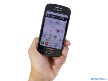 The Samsung Galaxy S Relay 4G is somewhat comfortable to hold in the hand thanks to its compact form - Samsung Galaxy S Relay 4G Review