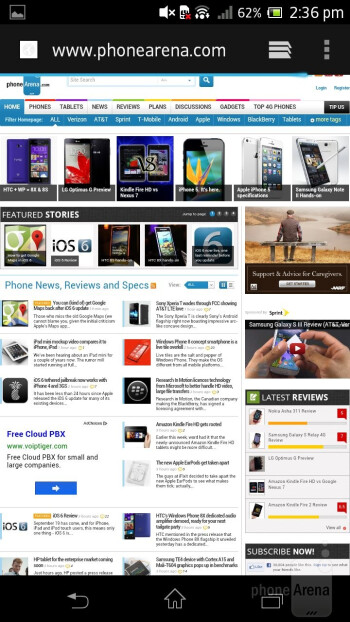 Web browsing with the Sony Xperia T - Sony Xperia T Review
