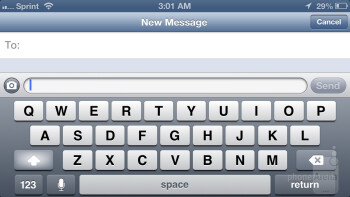 The on-screen keyboard of the Apple iPhone 5 - Apple iPhone 5 vs HTC One X