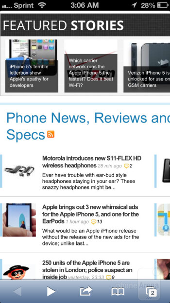 Browsing the net with Safari browser - Sony Xperia Z vs Apple iPhone 5