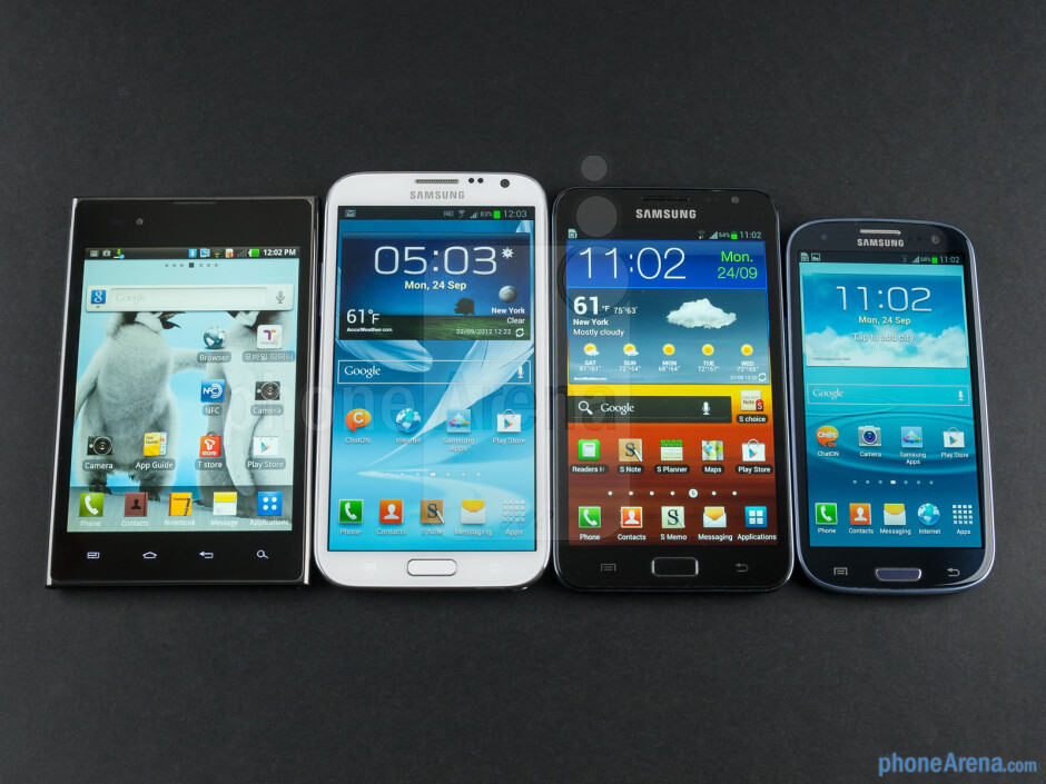 Left to right; bottom to top - LG Optimus Vu, Samsung Galaxy Note II, Samsung Galaxy Note, Samsung Galaxy S III - Samsung Galaxy Note II Review