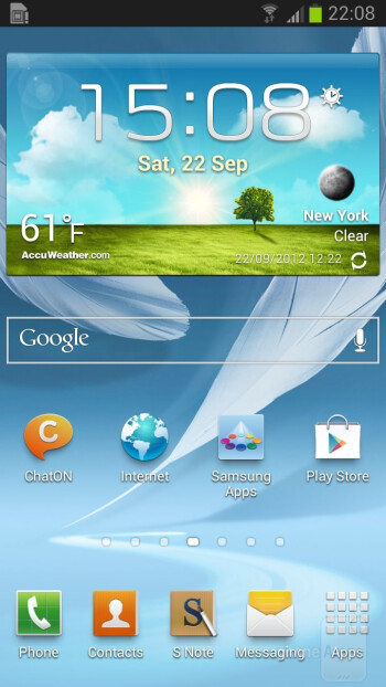 The interface of the Samsung Galaxy Note II - Samsung Galaxy Note II vs Galaxy S III