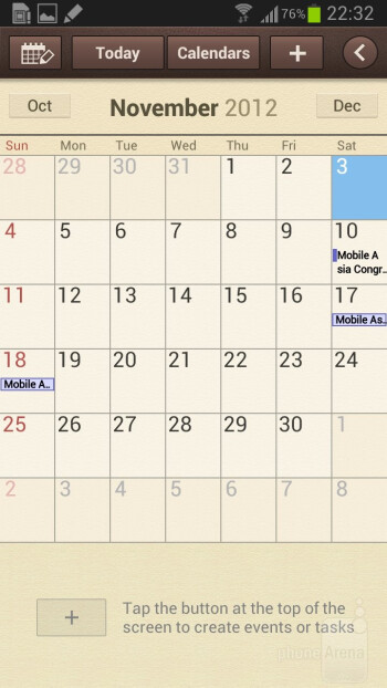 S Planner calendar app - Samsung Galaxy Note II Review