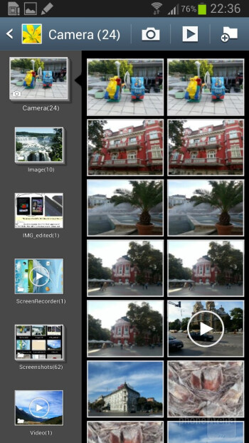 The Gallery app of Samsung Galaxy Note II - LG Optimus G Pro vs Samsung Galaxy Note II
