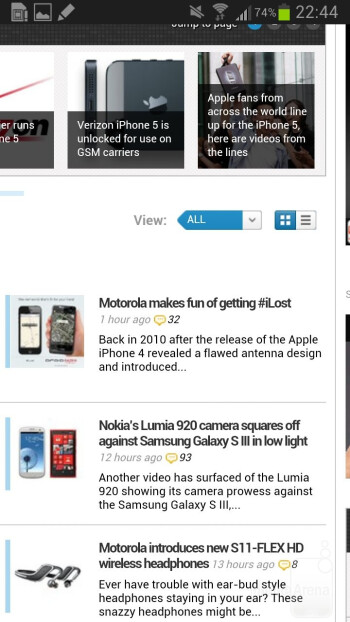 The browser of the Samsung Galaxy Note II - Samsung Galaxy Note II vs LG Optimus G
