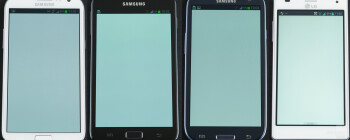 Left to right - Samsung Galaxy Note II, Samsung Galaxy Note, Samsung Galaxy S III, LG Optimus 4X HD - Samsung Galaxy Note II Review