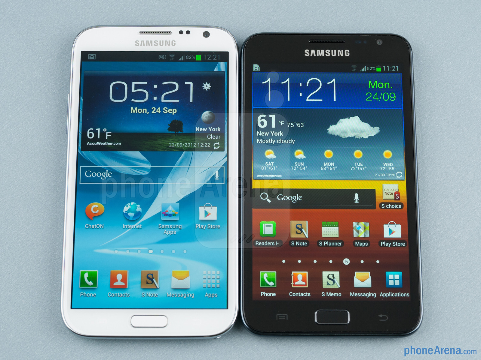 Samsung Galaxy Note (right) - Samsung Galaxy Note II vs Galaxy Note