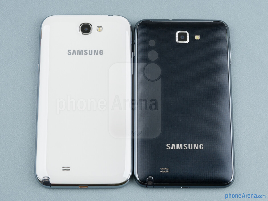 Backs - The Samsung Galaxy Note II (left) and the Samsung Galaxy Note (right) - Samsung Galaxy Note II vs Galaxy Note