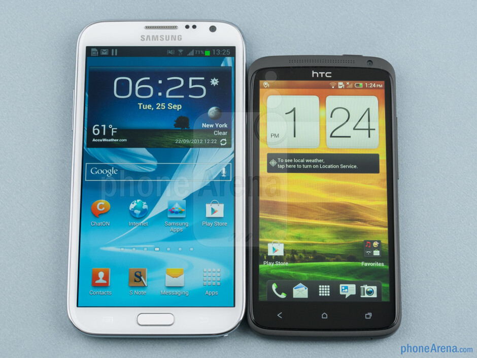 The Samsung Galaxy Note II (left) and the HTC One X (right) - Samsung Galaxy Note II vs HTC One X